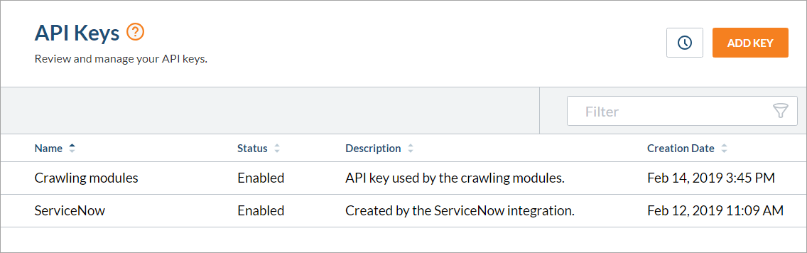 Coveo Cloud Administration Console API Keys Page