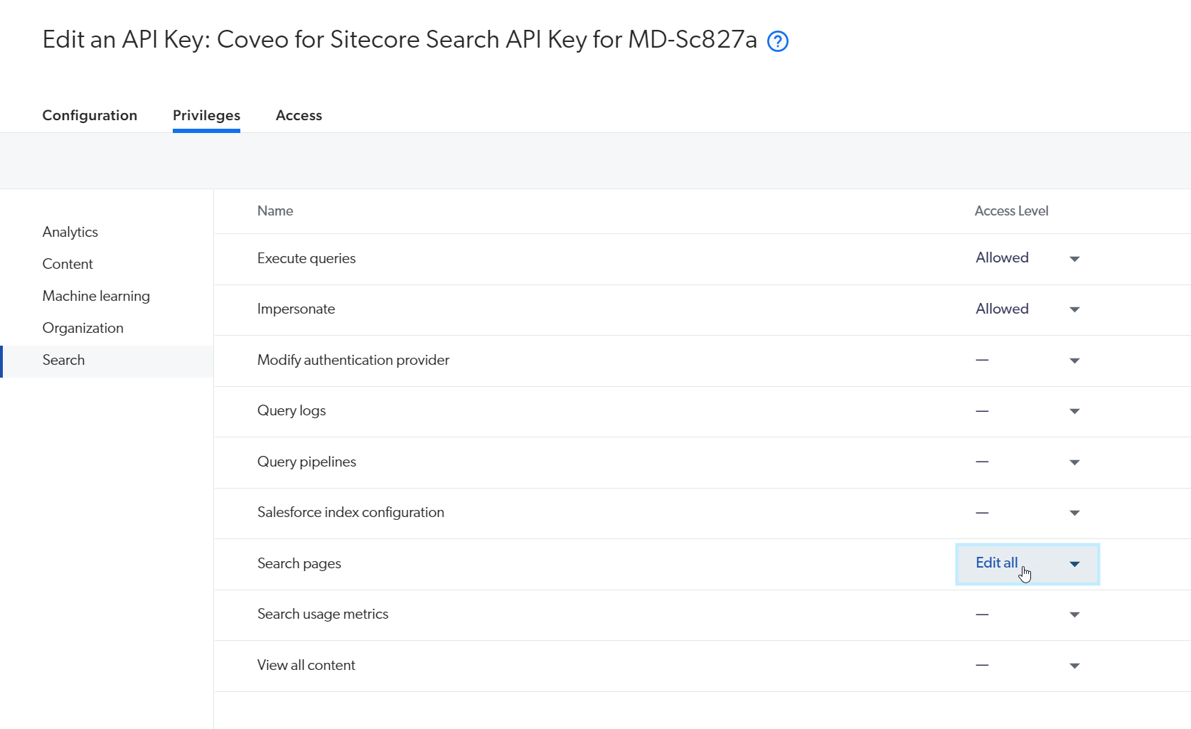 Search API key required rights
