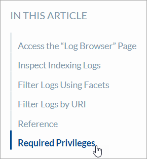 Accessing the Required Privileges documentation section