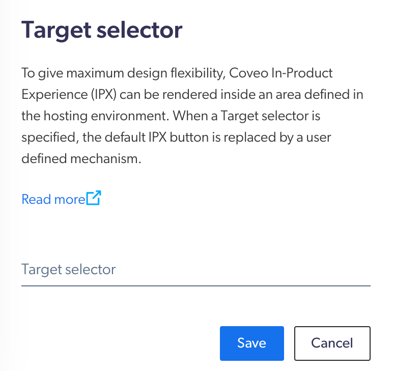 screen capture of the target selector section in the Coveo Administration Console
