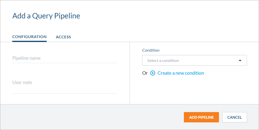 New Add/Edit a Query Pipeline panel