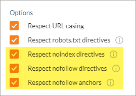 Noindex and Nofollow options