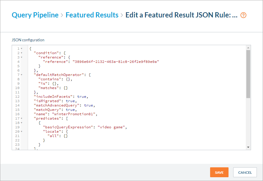 Edit a Featured Result JSON Rule