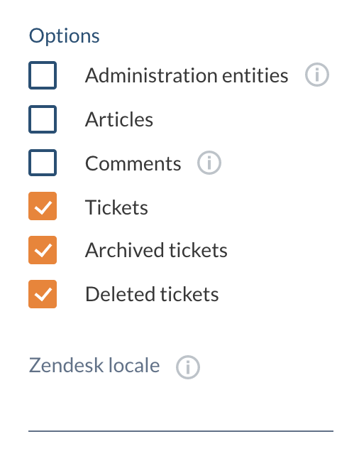 Zendesk source options
