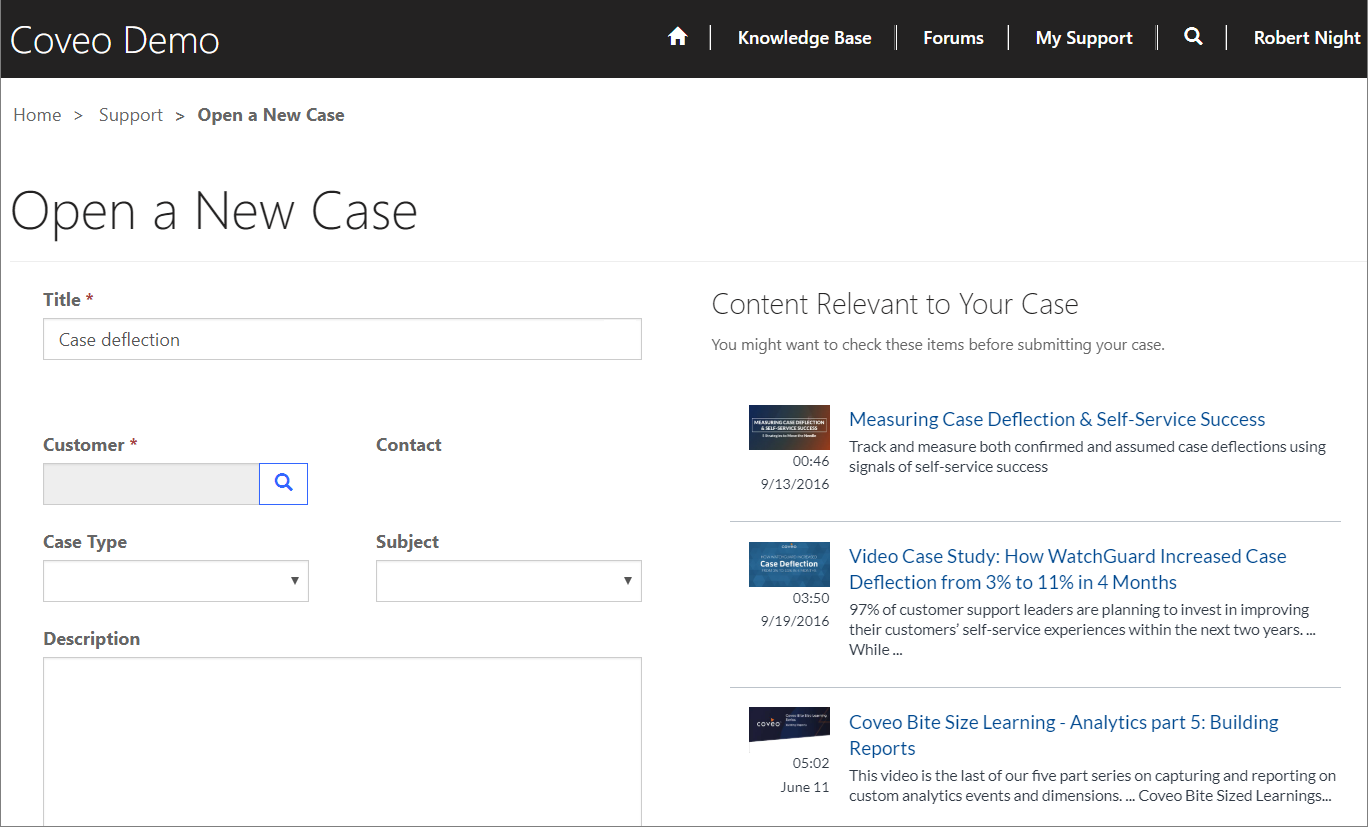 Case creation page in a portal