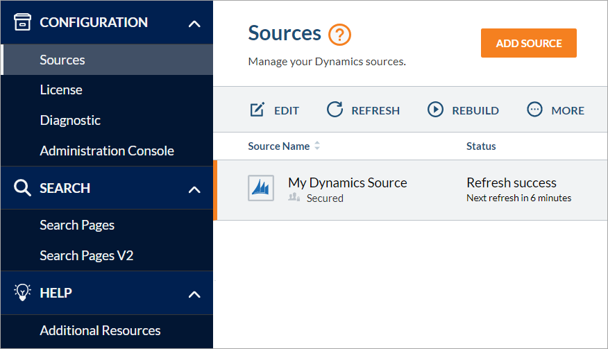 Coveo for Dynamics administration interface Sources page