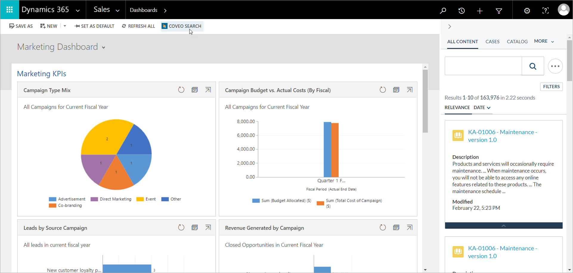 Dynamics Marketing Dashboard and Coveo side panel on the right