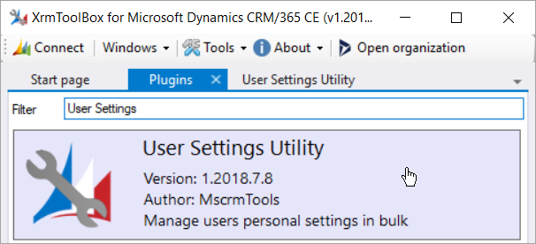 Clicking User Settings Utility