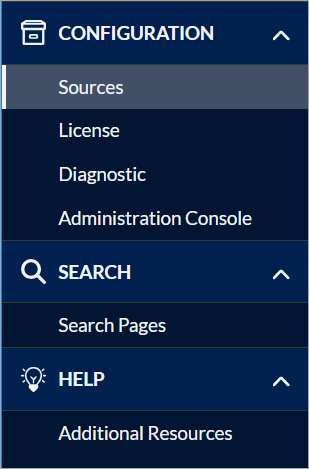 Coveo for Microsoft Dynamics 365 configuration interface menu