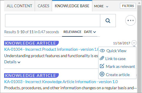 Insight panel with More clicked for a knowledge article result. The drop-down menu displays the result action options.