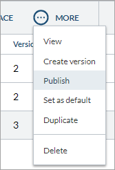 In the Search Pages page, in the More drop-down menu, the Create a New Version and Published options